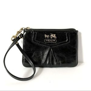 Coach Black Patent Leather Pleated Clutch Wristlet